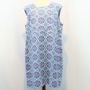 Jessica London Printed Linen Blend Shift Dress